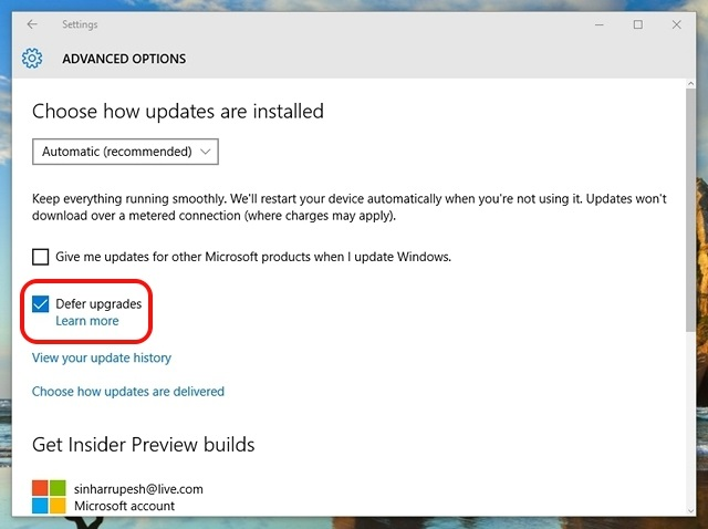 Windows 10 aplaza las actualizaciones